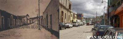 """Esta comparación se sitúa en la actual calle de Morelos, los edificios ya no corresponden, apenas se alcanzan a encontrar rasgos de algunos de ellos, al fondo de lado izquierdo, se encentra actualmente la Escuela Primaria """"Manuel Sabino Crespo"""", conocida popularmente como """"La polka"""", la reducción de lo que hoy es la ampliación de la calle y el cerro del fondo no dan lugar a dudas acerca de que se trata del mismo lugar."""
