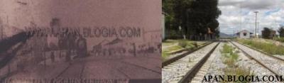 """Esta es una fotografía más de la Antigua Estación del Tren, titulada: """"Llegada del tren de pasajeros"""", esperé un momento para captar una imagen semejante con tren y toda la cosa, pero no tuve mucha suerte ... ni modos, en la foto antigua, de lado izquierdo, se alcanza a apreciar el tejado de anden antiguo, hoy inexistente."""