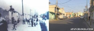 """Aquí podemos admirar la calle Hidalgo, al fondo de ambas fotos se encuentra la capilla de """" El Calvario """", interesante muestra del paso del tiempo."""