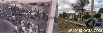 El movimiento de la foto Antigua se centra en la calle Juárez, justo enfrente a la estación de ferrocarril, la foto se tomó desde una zona alta, por lo que la comparación no es del todo precisa, además de que los edificios que aparecen en la parte superior izquierda (uno de ellos fue fábrica de vidrio), hoy son cubiertos por dos grandes árboles.