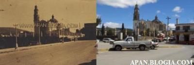 Cuando son fotos de la Iglesia o el centro la tarea de comparación se facilita enormemente, la foto añeja fue tomada sobre la calle Lauro L. Méndez, llama a atención los faroles que existían en el Jardín Municipal.