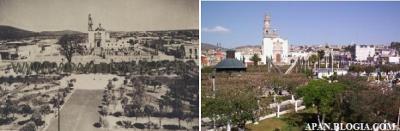 Aqui podemos ver el enorme cambio del  Jardín Municipal, la foto fue tomada desde lo alto o el interior del Palacio o Presidencia Municipal.